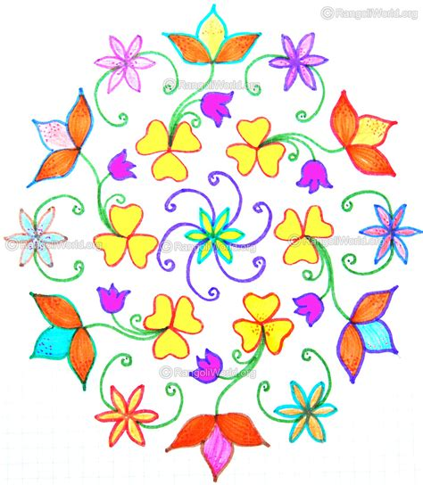 new design flower kolam with dots 15 dots flower kolam images