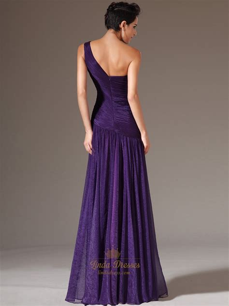 purple a line one shoulder chiffon prom dress with beaded detail dress
