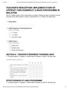 Questionnaire Teacher S Perception On Implementation Of