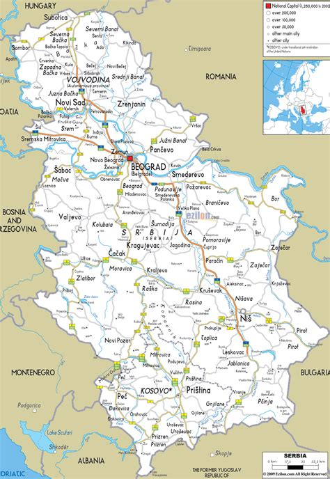 map of serbia road map of serbia ezilon maps