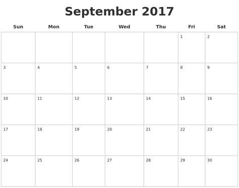 Calendar September 2017 Blank September Calendars