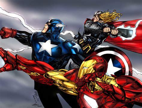 captain america thor ironman wallpaper thor iron man captain america by krthompsonart on deviantart