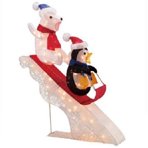 tis your season 48 quot polar bear and penguin sledding