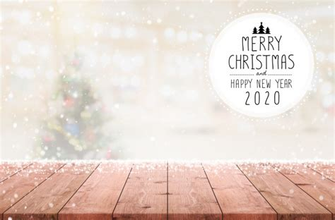 merry christmas  happy  year   empty wood table top  blur bokeh christmas tree