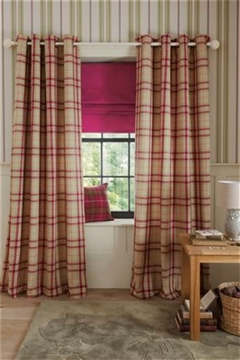 next online curtains buy newington check natural and raspberry woven eyelet