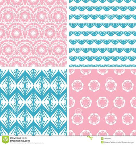 vector pattern matching four abstract pink blue folk motives seamless royalty free