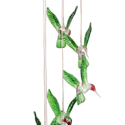 Hummingbird Garden Decor by Hummingbird Solar Mobile Powered Wind Chime White Led