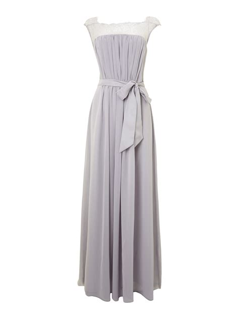 Ariella Bridesmaid Lace Chiffon Maxi Dress in Gray   Lyst