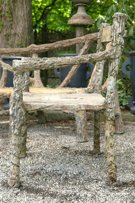 faux bois french faux bois branch form garden chair for sale at 1stdibs