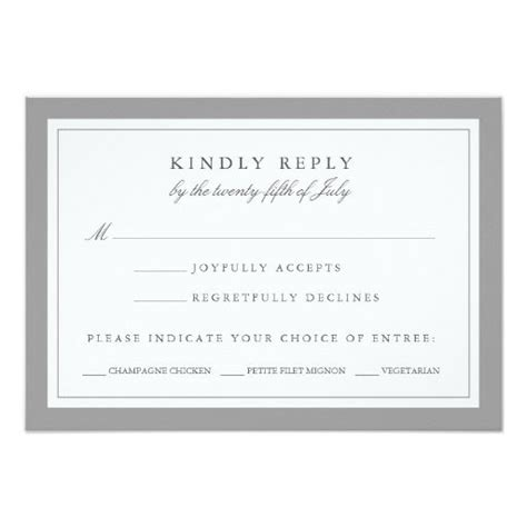Gray And White Wedding Rsvp Card W Meal Choice Wedding Gray And Meals Rsvp With Meal Choice Template