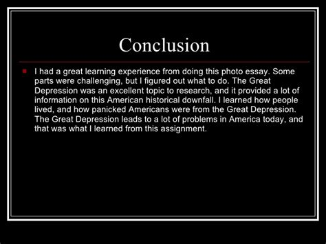 Causes Of The Great Depression Essay Conclusion by The Great Depression Power Point
