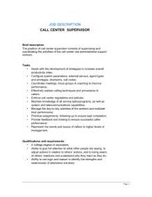 Call Center Duties by Call Center Supervisor Description Template Sle Form Biztree