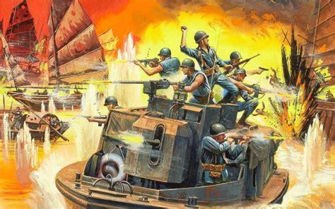 art war vietnam mekong river  armored boat soldiers