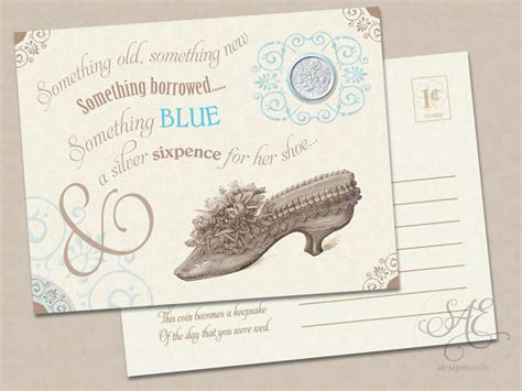 Bridal Shower Gift Cards Only - molly card only wedding bride something old new borrowed blue a lucky silver sixpence