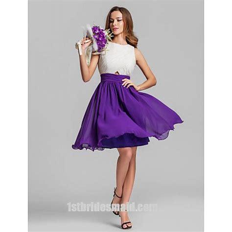 Two Color Dress 40382 dazzling two color tones chiffon mini white and purple bridesmaid dress 1stbridesmaid