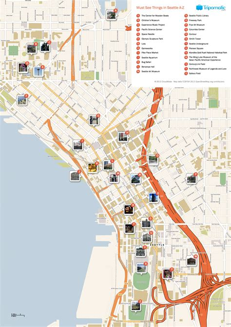Printable Seattle Area Map | free printable map of seattle attractions free tourist