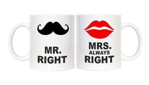 Mr Right and Mrs Always Right couple mugs wife husband boyfriend girlfriend coffee mugs