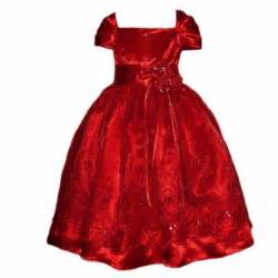 Girl red satin holiday christmas dress