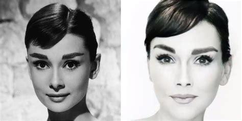 audrey hepburn face shape audrey hepburn makeup transformation how to do audrey