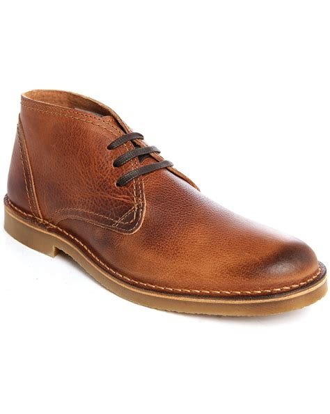 cognac boots for selected cognac shroyce leather desert boots in brown for