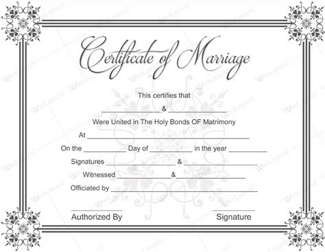 marriage license template document templates february 2016