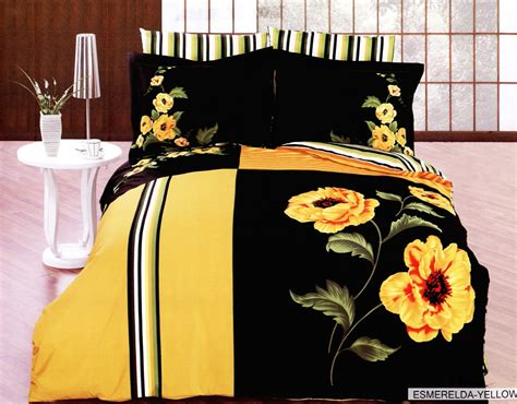 yellow and black comforter new black duvet cover set bed mattress sale