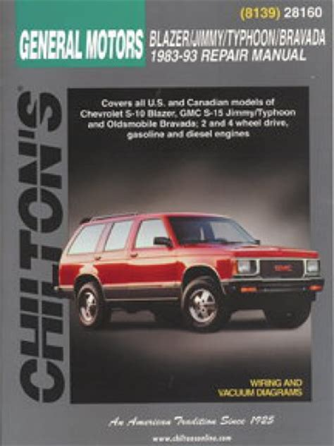 motor auto repair manual 1993 oldsmobile bravada parking system chilton general motors blazer jimmy typhoon bravada 1983