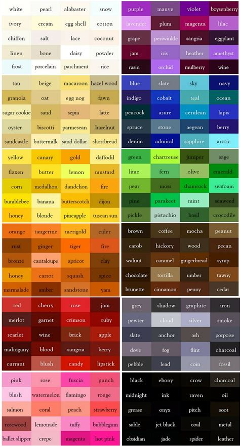 names of orange colors the color thesaurus for writers and designers from ingrid