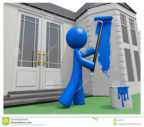 blue man painting  house  paint roller stock