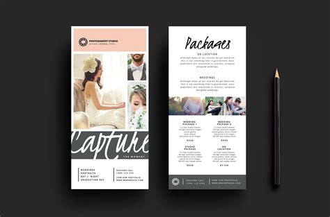templates rack card wedding photographer rack card template for photoshop