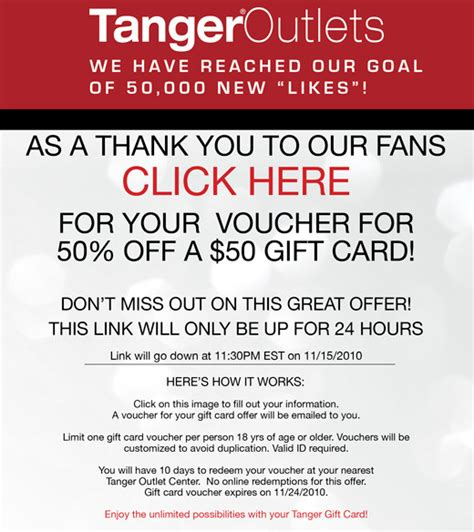 Tanger Outlet Gift Card Coupon Code - update tanger outlets coupon 50 gift card for just 25 is live mojosavings com