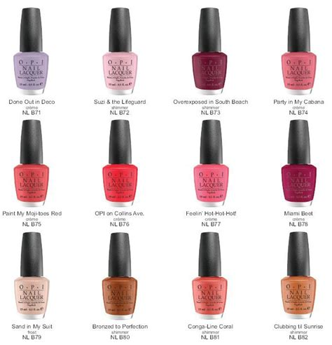 opi nail color chart opi south collection color chart nails