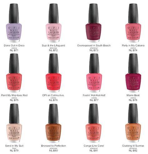 opi nail color names opi south collection color chart nails
