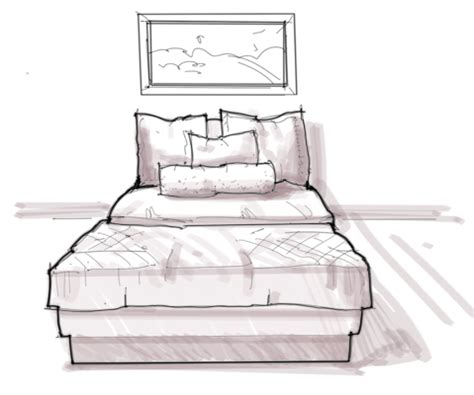 bed sketch interior design rendering how to draw texture on bedding