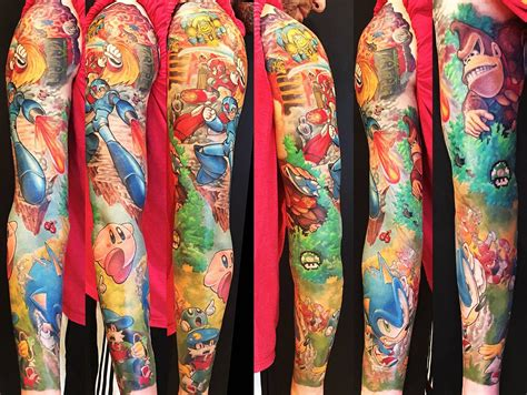 kirby tattoo sleeve gamer ft sonic klonoa megaman x