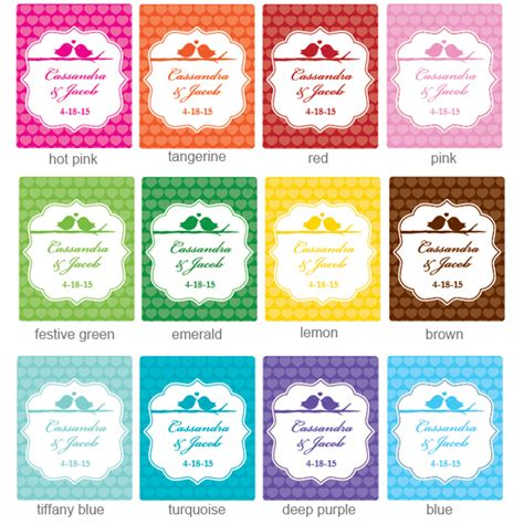 printable tea label love birds personalized tea bag favor love birds wedding