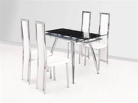 Small Black Dining Table Small Black Extending Glass Dining Table And 4 White Chairs