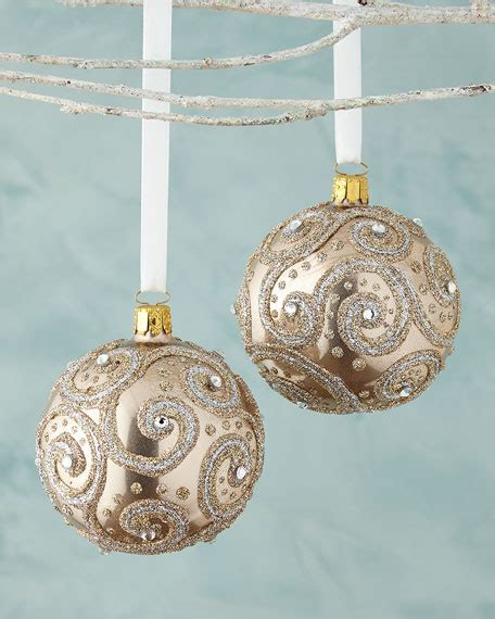 glittered chagne ball christmas ornament set of 2