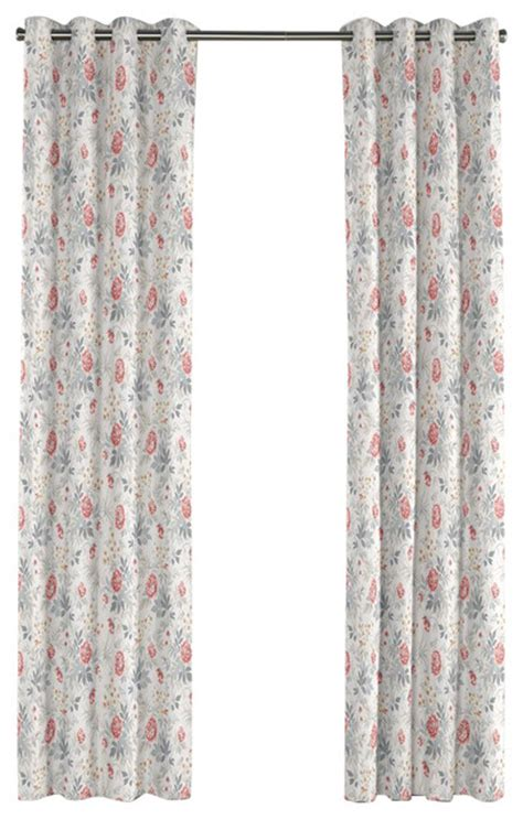 Pink And Gray Curtains Pink And Gray Lotus Flower Grommet Curtain Traditional Curtains By Loom Decor
