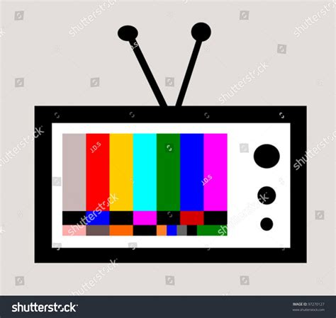 test pattern vector retro television with colorful test pattern stock vector