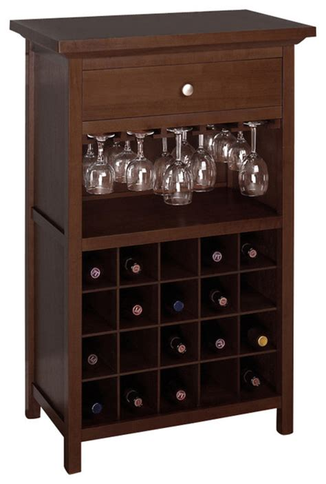 Wood Wine Cabinet by Winsome Wood Wine Cabinet With Glass Hanger Antique