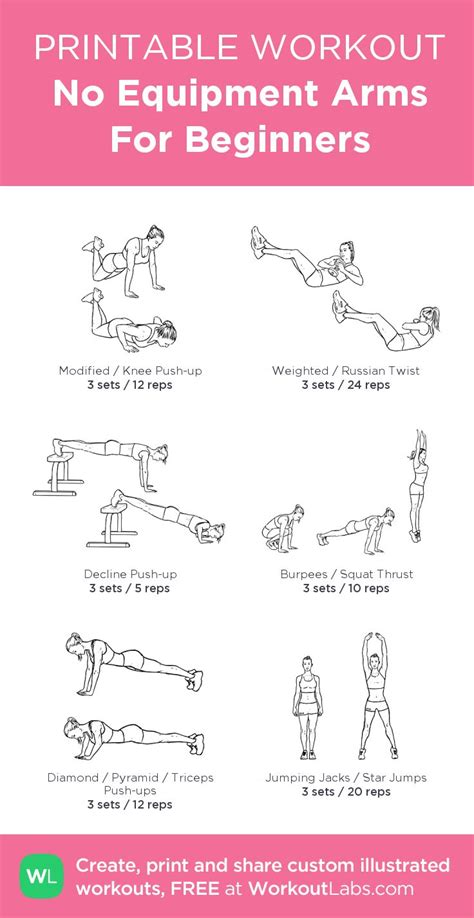 printable exercise program for beginners arms workout plan pdf eoua blog