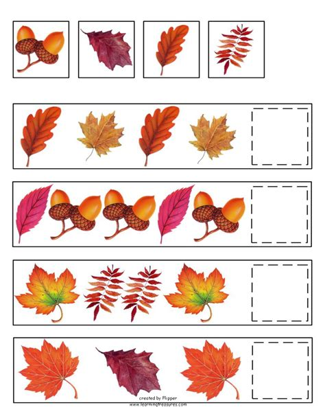 pattern crafts for kindergarten fall pattern skills math worksheet by learning treasures