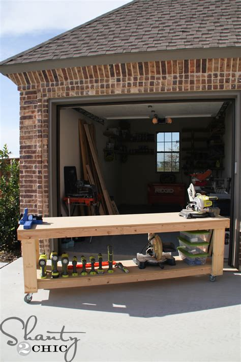 how to build a shop diy workbench free plans shanty 2 chic