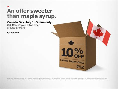 Ikea Gift Card Online Canada - ikea canada day offer save 10 off your online order of 250 or more today only