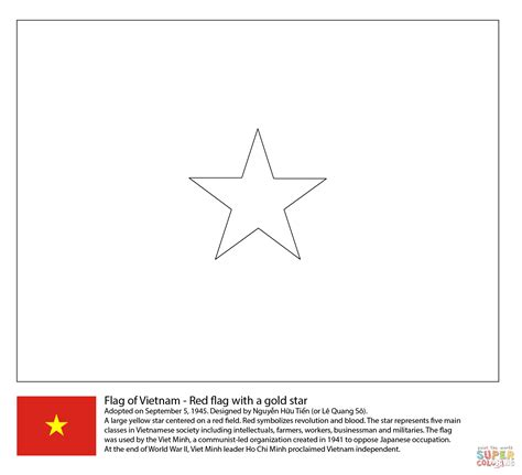 flag of vietnam coloring page free printable coloring pages