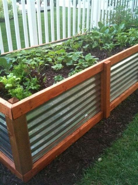 corrugated metal and wood raised garden bed raised beds