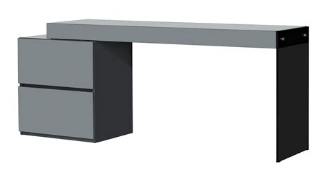 Two Drawer Grey High Gloss Office Desk With Glass Leg High Gloss Office Desk