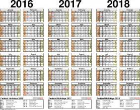 Mauritius Calendario 2018 2016 2017 2018 Calendar 4 Three Year Printable Pdf Calendars