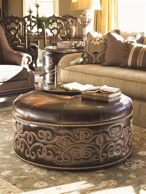 Upholstery Bakersfield by Florentino Giardini Leather Cocktail Ottoman With Scrolled Nailhead Stud Design Baer